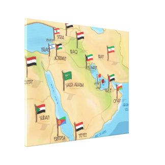 Mapa de Oriente Medio Impresiones En Lona Estiradas