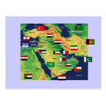 Mapa de Oriente Medio Tarjeta Postal