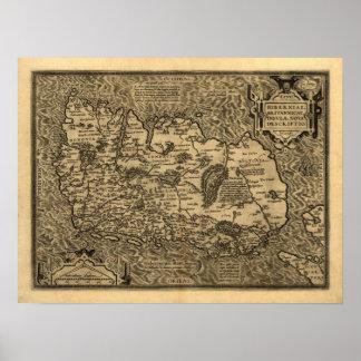Mapa de Ortelius' de Irlanda (1598) Póster