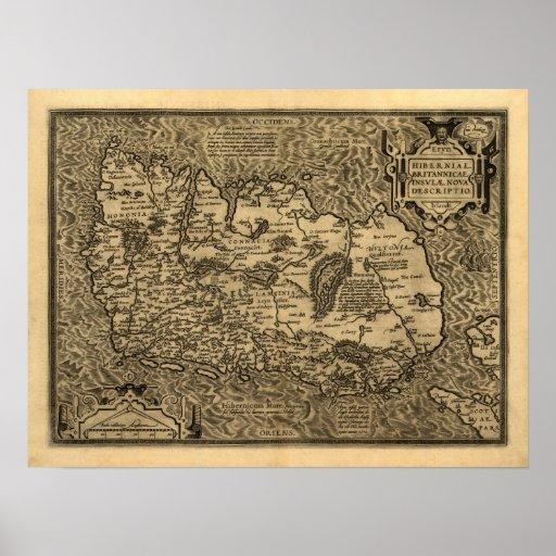 Mapa de Ortelius' de Irlanda (1598) Posters