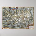 Mapa de Ortelius Islandia que ofrece la impresión  Posters