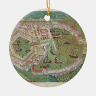 """Mapa de Ostia, de """"Civitates Orbis Terrarum"""" por G Adorno Redondo De Cerámica"""