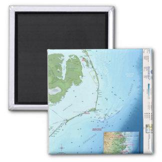 Mapa de Outer Banks Imán Cuadrado