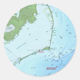 Mapa de Outer Banks Pegatina Redonda