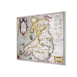 Mapa de País de Gales c 1630 publicado mano-colo Lienzo Envuelto Para Galerías
