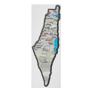 Mapa de Palestina con las letras árabes Póster