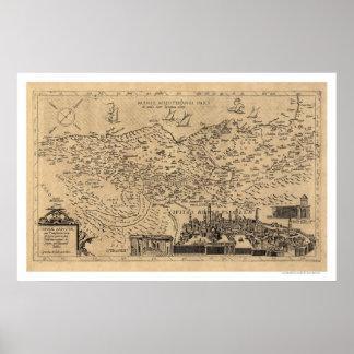 Mapa de Palestina de Tilemann Stella 1600 Póster