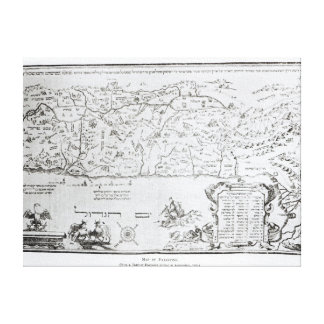Mapa de Palestina, de un Haggadah del Passover Impresión En Lona Estirada