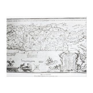 Mapa de Palestina, de un Haggadah del Passover Impresion De Lienzo