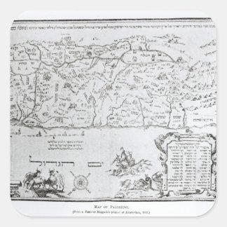 Mapa de Palestina, de un Haggadah del Passover Pegatina Cuadradas