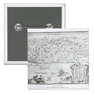 Mapa de Palestina, de un Haggadah del Passover Pin Cuadrado