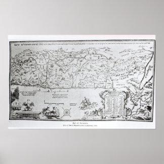 Mapa de Palestina, de un Haggadah del Passover Póster