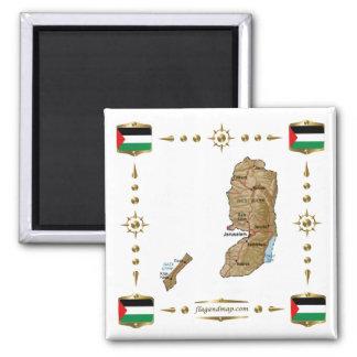 Mapa de Palestina + Imán de las banderas