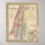 Mapa de Palestina, Jerusalén de Mitchell Póster