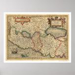 Mapa de Palestina y de los alrededores 1710 Póster