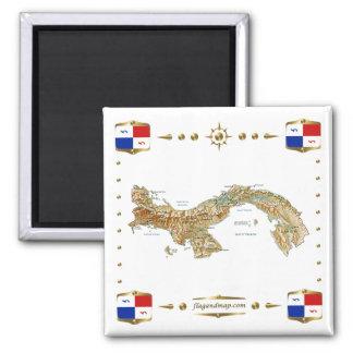 Mapa de Panamá + Imán de las banderas
