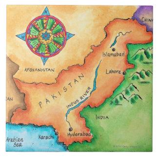 Mapa de Paquistán Azulejo Cuadrado Grande