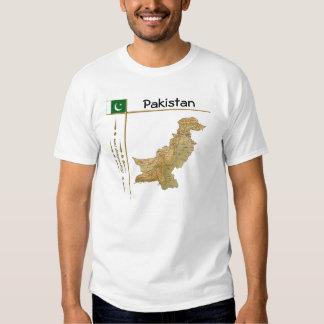 Mapa de Paquistán + Bandera + Camiseta del título Remeras