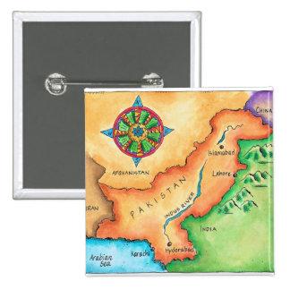 Mapa de Paquistán Pin Cuadrado