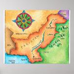 Mapa de Paquistán Posters