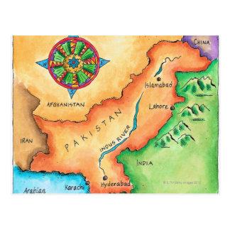 Mapa de Paquistán Tarjetas Postales