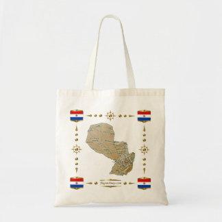 Mapa de Paraguay + Bolso de las banderas Bolsas