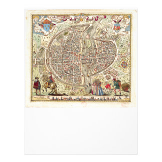Mapa de París, 1576 Plantillas De Membrete
