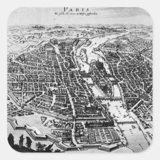 Mapa de París, 1620 Pegatina Cuadrada