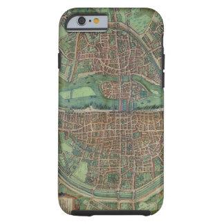 """Mapa de París, de """"Civitates Orbis Terrarum"""" por G Funda De iPhone 6 Tough"""