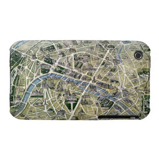 Mapa de París durante el período de los Grands Case-Mate iPhone 3 Cobertura