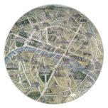 Mapa de París durante el período de los Grands Plato De Cena