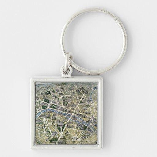 Mapa de París durante los 'Grands Travaux Llavero Cuadrado Plateado