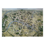 Mapa de París durante los 'Grands Travaux Póster
