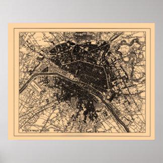 Mapa de París Francia, circa 1890 - 1907 Impresiones