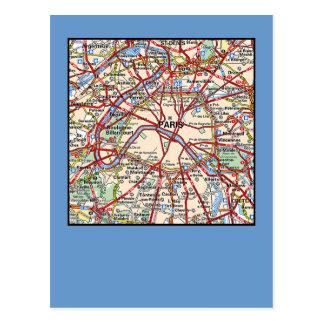 Mapa de París Postal