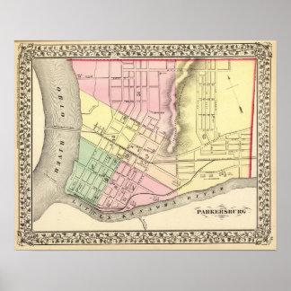 Mapa de Parkersburg, Virginia Occidental Póster