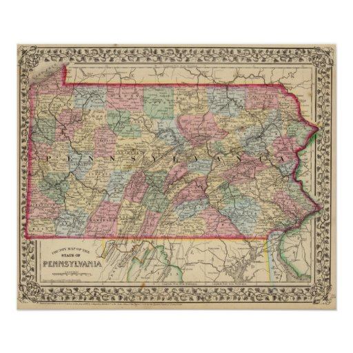 Mapa de Pennsylvania de Mitchell Póster