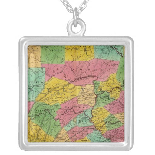 Mapa de Pennsylvania, de New Jersey, y de Delaware Colgante Cuadrado