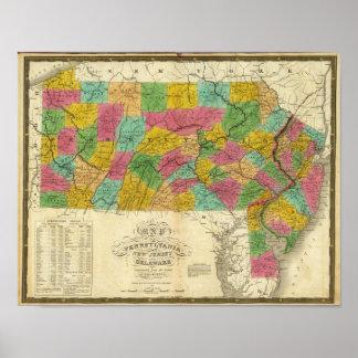 Mapa de Pennsylvania, de New Jersey, y de Delaware Póster