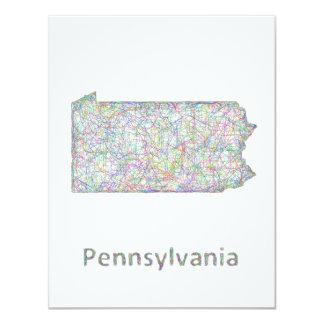 """Mapa de Pennsylvania Invitación 4.25"""" X 5.5"""""""