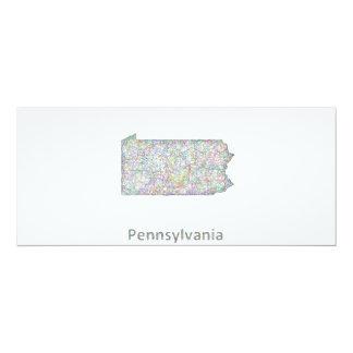 """Mapa de Pennsylvania Invitación 4"""" X 9.25"""""""
