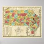 Mapa de Pennsylvania New Jersey y de Delaware Póster