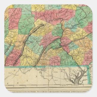 Mapa de Pennsylvania Pegatina Cuadrada