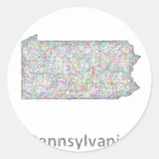 Mapa de Pennsylvania Pegatina Redonda