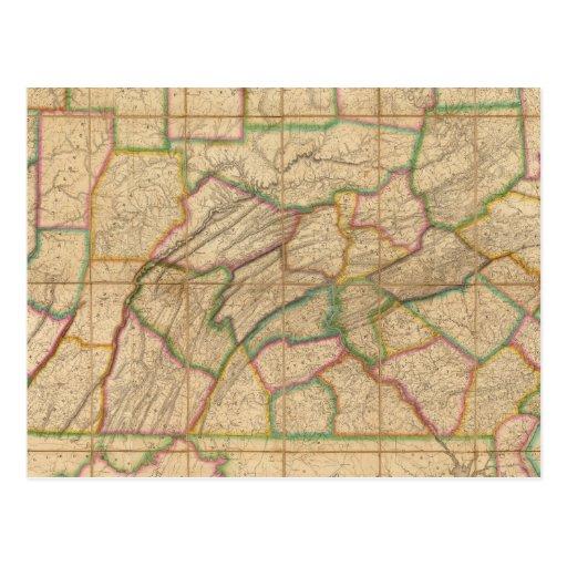 Mapa de Pennsylvania Tarjeta Postal