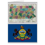 Mapa de Pennsylvania y bandera del estado Tarjeta De Felicitación