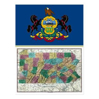 Mapa de Pennsylvania y bandera del estado Tarjetas Postales