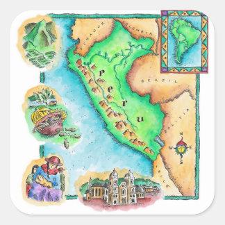 Mapa de Perú Pegatina Cuadrada
