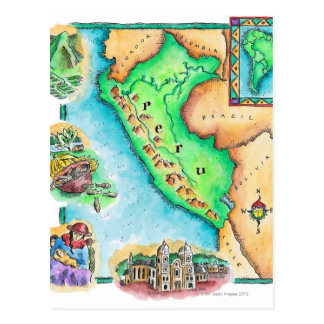 Mapa de Perú Tarjeta Postal