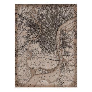 Mapa de Philadelphia 1898 del vintage Postal